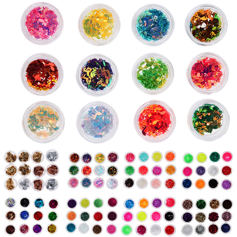 12 Pcs Mix Color Nail Art Tips Decoration Women Acrylic Nail Glitter Set Colors shows as pictures(China (Mainland))