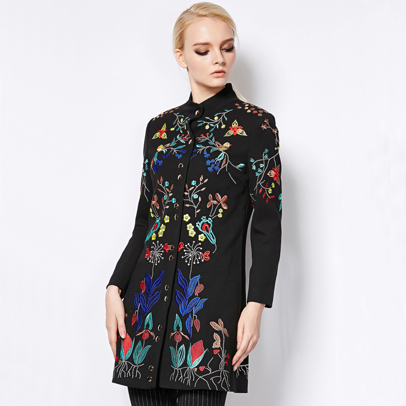 Pro-sale Coat Autumn Winter 2015 Fashion Runway Brand Womens Elegant Long Sleeve Plus Size Flowers Embroidery CoatОдежда и ак�е��уары<br><br><br>Aliexpress