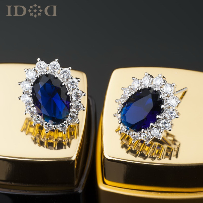 princess models stud earrings blue retro imitation