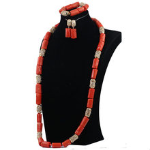 זהב דובאי סט תכשיטי נשים 40 inches חרוזים אבזר האופנה שרשרת סט תכשיטים אפריקאים חרוזים אלמוגים ABH595 כלות מתנה(China)