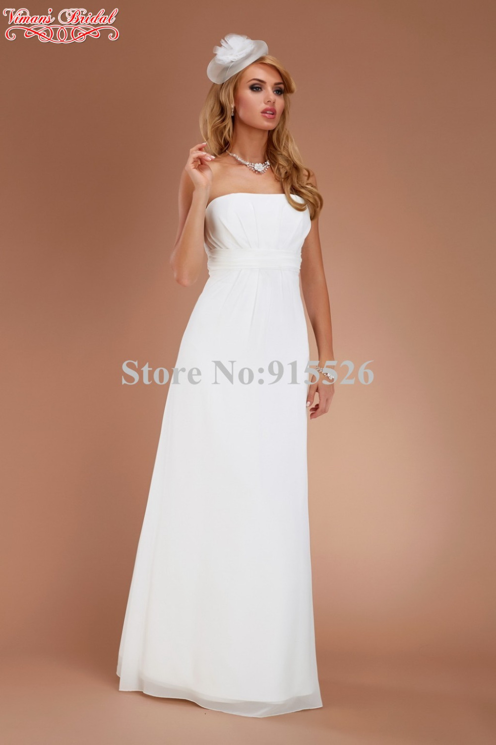 2015 Beach Chiffon White Strapless Wedding Gowns Off The