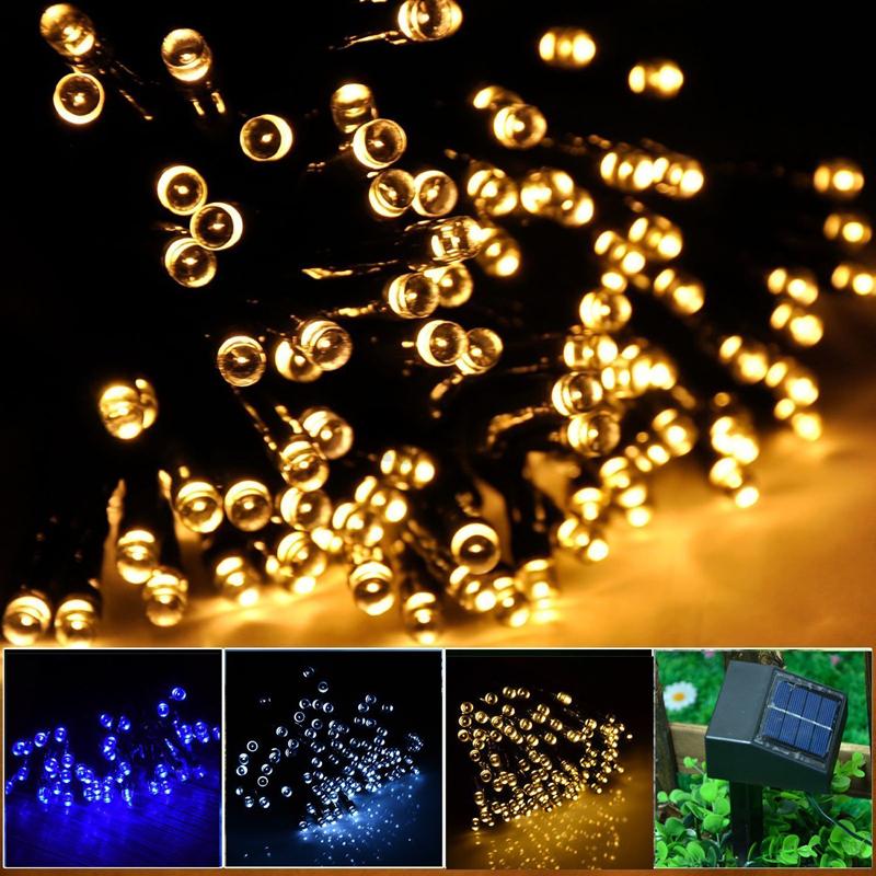 Copper Globe String Lights : New 2015 100LEDs String Light 12M Waterproof Decorative Copper Globe Solar Powered Led Light ...