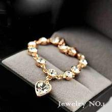 2015 Fashion Girl Colorful Semi-Precious Stones Heart-Shaped Round Mosaic Lobster Claw Clasp Lovely Youthful Vitality(China (Mainland))