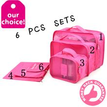Travel Bags 6 in 1 per Set high quality Nylon travel Storage Bag Waterproof Clothing Organizer