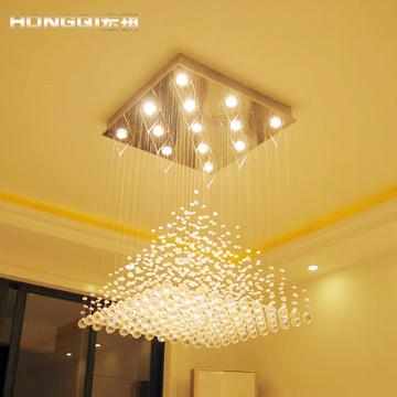 Crystal lamp living room lights lamps lighting modern square pyramid pendant light d9014(China (Mainland))