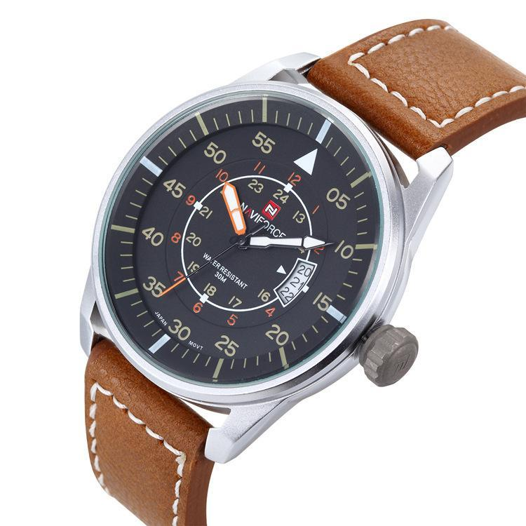 Watches men NAVIFORCE 9044 luxury brand Quartz Clock dive 30M Casual Army Military Sports watch Leather