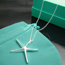P330  10pcs 2014 925 sterling silver Fashion Starfish necklace  pendant necklace,Wholesale Jewelry necklace,free shipping