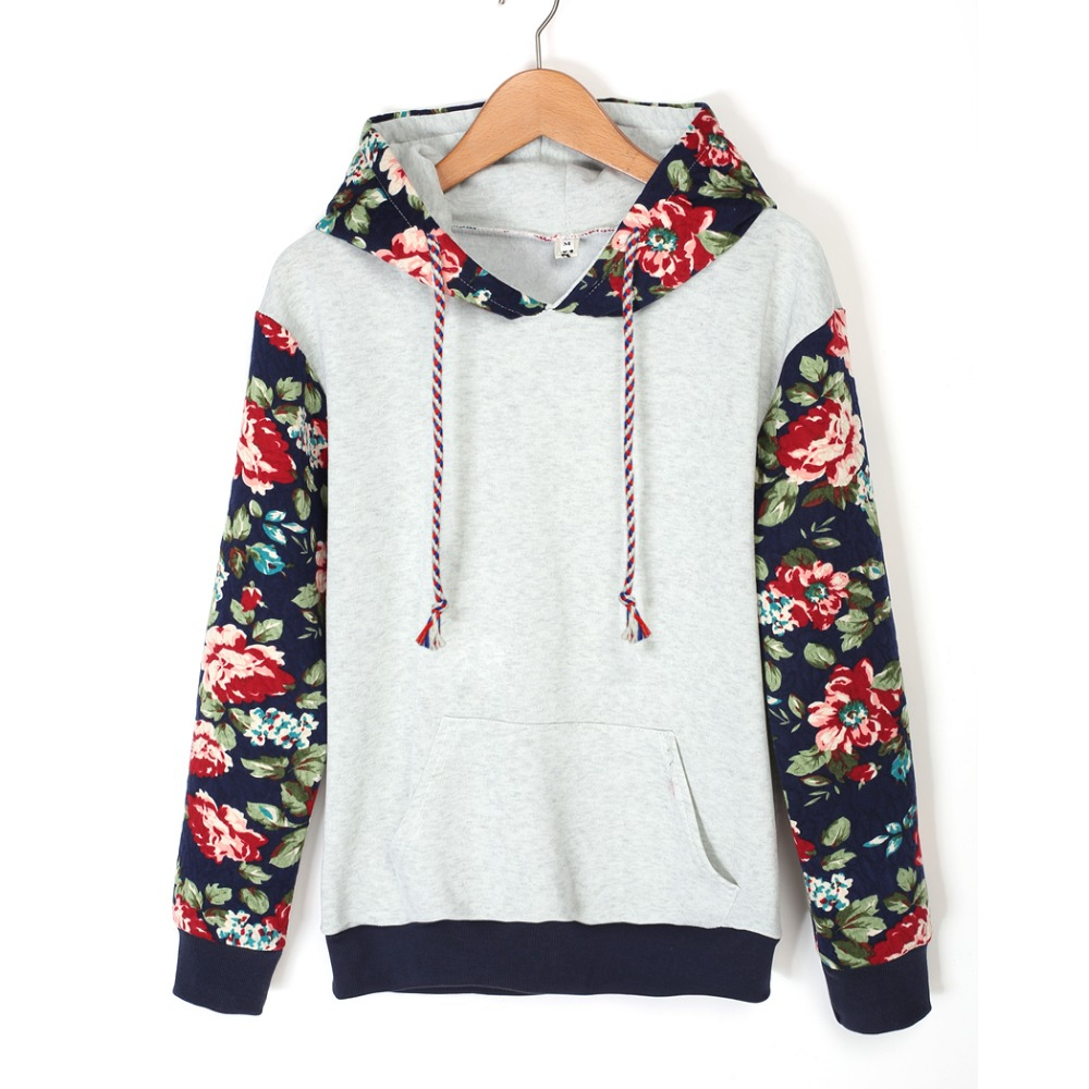 2015 Autumn Winter Women Casual Thick Warm Floral Printed Hoodies Sweatshirts Long Sleeve Hooded Long Coat Jackets ZM0092