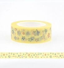 1X 15mm Print Stamp star Patterned Japanese Washi Paper Decorative Masking Tape Scrapbooking Tools Papelaria 10M - DIY store