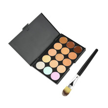 High Quality 15 Colors Party Contour Face Cream Makeup Concealer Palette With Powder Brush(China (Mainland))