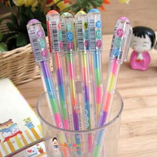 Korea stationery colorful 6 neon pen color pen pastels, pen black paper