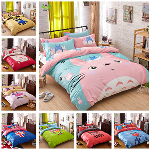 Favourite totoro bed linen 100% Cotton children set bedclothes Twill Cartoon Reactive Printing luxury high quality bedding sets(China (Mainland))