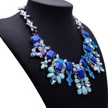 2014 Newest Women Statement Necklace Brand ZA Vintage Jewelry Flower Bib Multicolor Fashion Necklaces PendantsWomen Collar8730