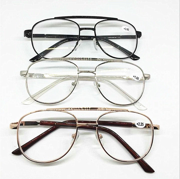 Large Frame Ladies Reading Glasses : Black Silver Gold Metal Round Oval Frame Oversized Reading ...