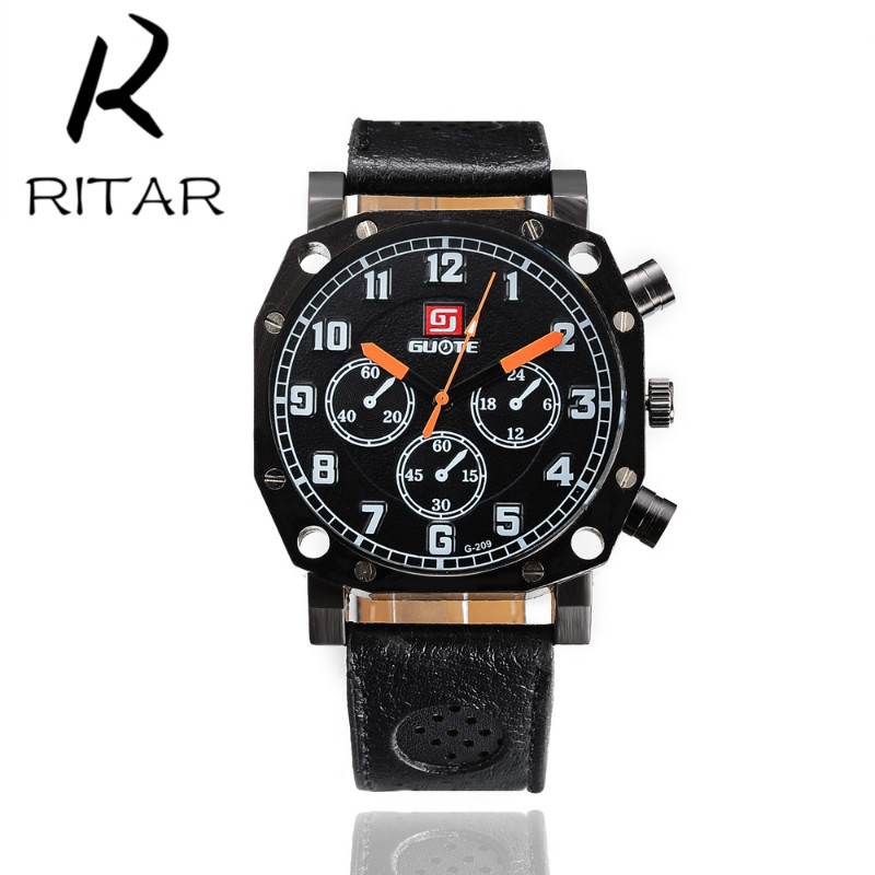Ritar 2016 New Fashion Watch Womens Luxury 2 Colors Fake Three Eyes Watches China Quartz Wrist Dress Men's Leather Strap Watches(China (Mainland))