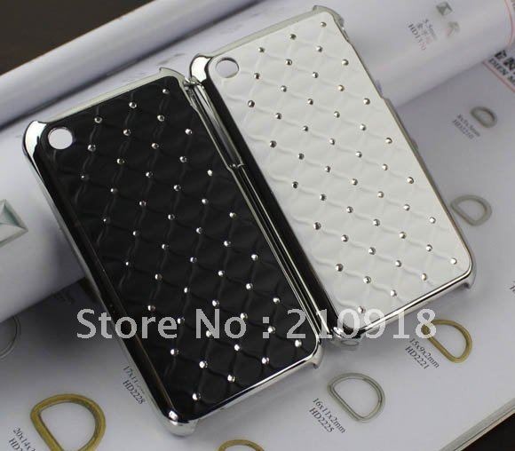 2 pcs black/white Deluxe Reinestone Bling Hard Case Cover For iphone 3g 3gs case, free shipping(China (Mainland))