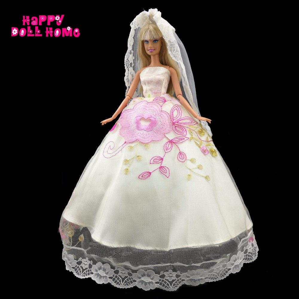 Handmade Wedding ceremony Social gathering Robe Flower Sample Gown Veil Princess Garments For Barbie Doll Equipment 11.5″ 12″ Dollhouse Toys Reward