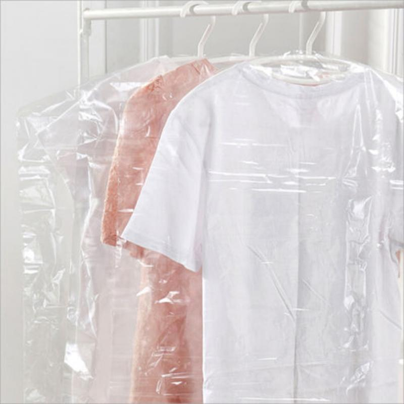 20pcs/Lot Plastic Transparent Dust Cover Garment of Clothes Hanging Pocket Storage Bag Wardrobe Hanging Clothing(China (Mainland))