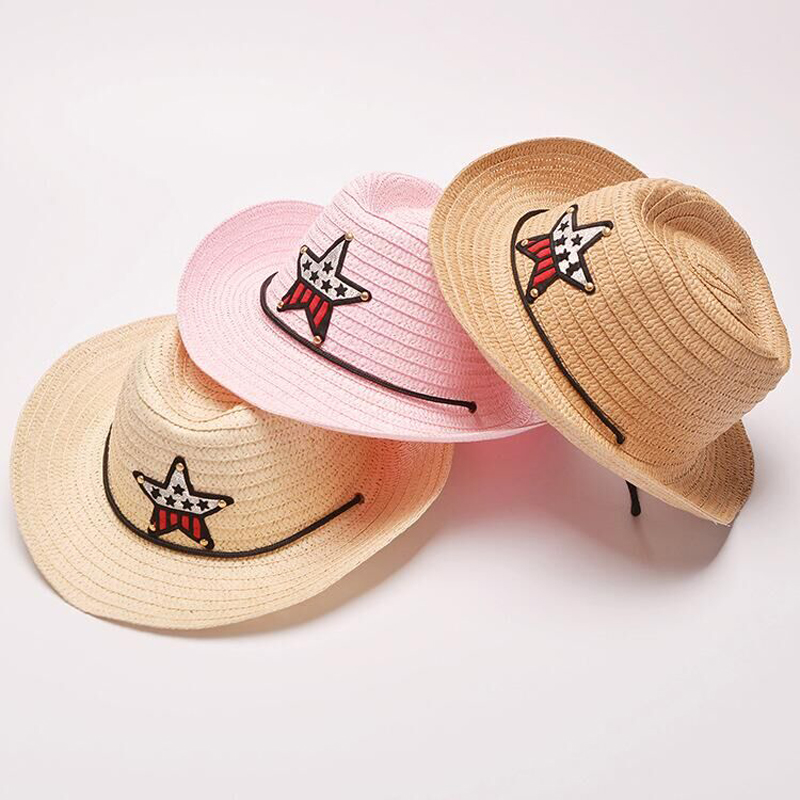 1pcs/lot Free shipping Cheap Child Baby Cowboy Hat Summer Sunbonnet Five-pointed Star Sun Hat Fedoras Straw Hat 8 COLORS(China (Mainland))