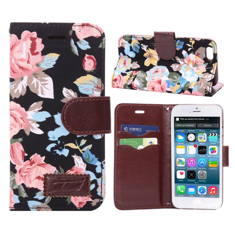 20pcs/lot New arrival Flower Floral Flip Leather Case for Iphone 6 Countryside Cloth+PU Leather Cover Hot Sell On Market via DHL(China (Mainland))
