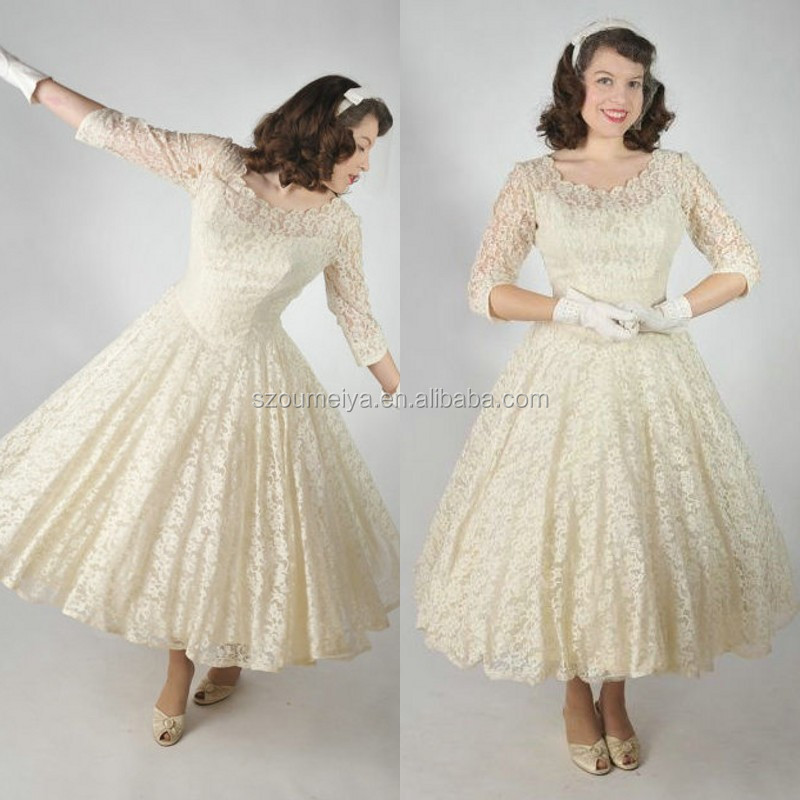 Vintage Lace Wedding Dresses Tea Length Flower Girl Dresses
