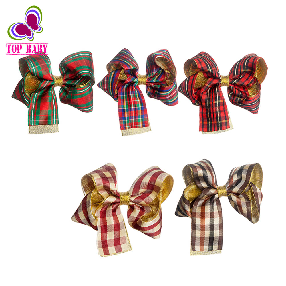 4Inch Baby Boutique Plaid HairBows Hairclips Girls' Party Hair Accessories Summer Style 5Pcs/lot(China (Mainland))