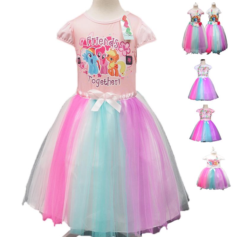 2016 summer girls dress,Girls cute Princess dress,Girls my pony dress, Elsa and Anna little girls party dress(China (Mainland))