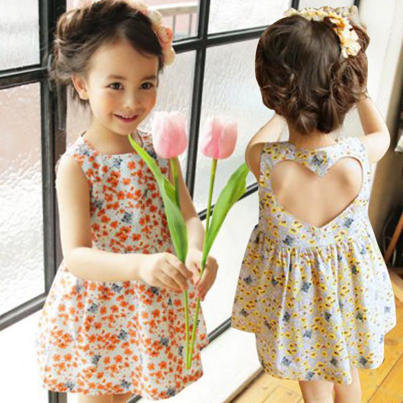 2016 Summer Korean Children Party Flower Girl Dresses Cotton Print Love Hollow Kids Infant Baby Todller Dress Princess Clothes(China (Mainland))