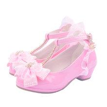 ULKNN מסיבת ילדי פרחי תחרה עקב נמוך נעלי עור בנות PU נעל שמלת ריקוד נעליים אחת נעלי ילדים עבור בנות ורוד לבן(China)