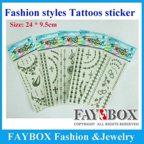 Size:24cmX9.5cm, 200pcs/lot,Temporary Tattoos ,Fashion Waterproof Body Tattoo Sticker paper ,Nontoxic ,high quality!