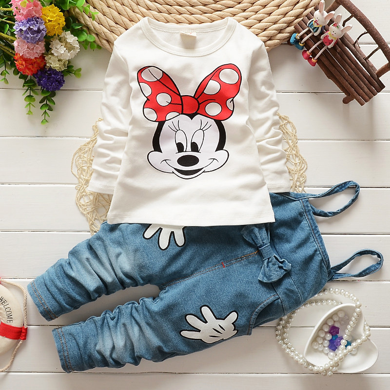Girl suit Autumn style mouse printing party children clothes white cotton T shirt + long Sling pant new designer vetement enfant(China (Mainland))