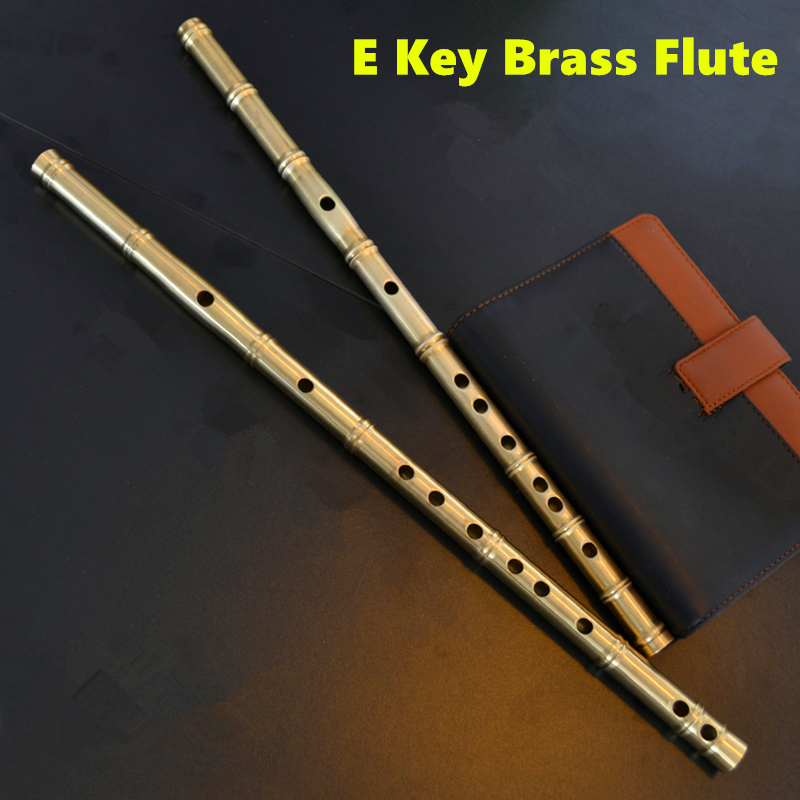 Brass Metal Flute E Key Metal Flauta Thicken Brass Chinese Dizi Flute Professional Musical Instrument Flauta Self-defense Weapon