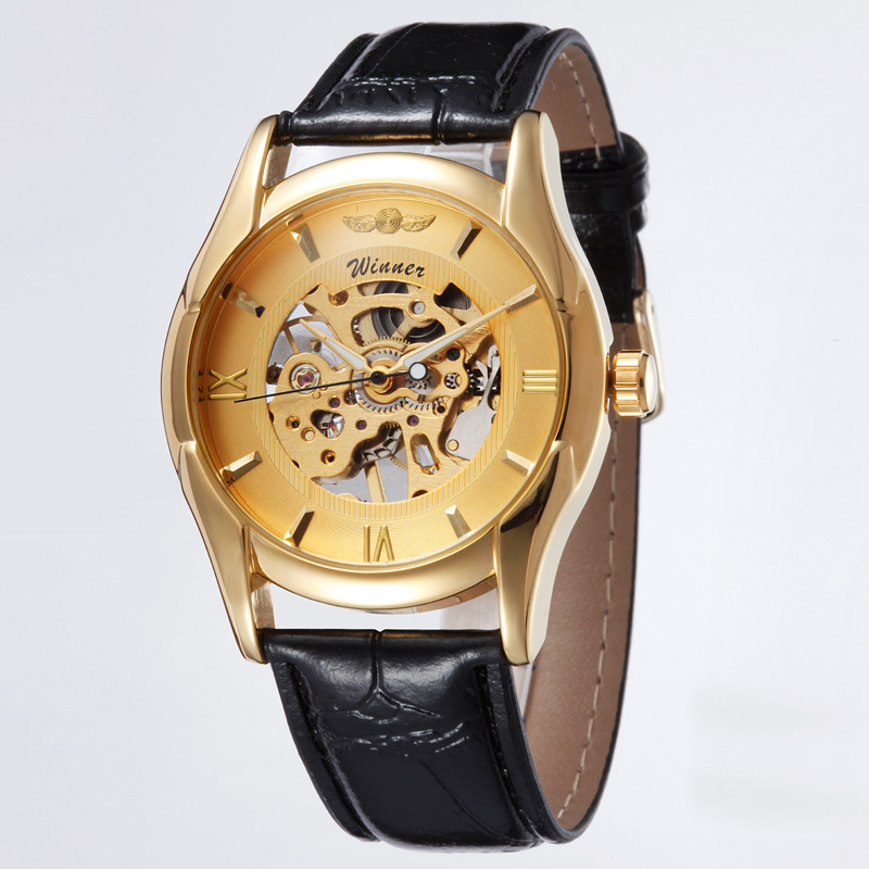 Hot Sale Business Men Wristwatch Senior Gem Glass Manual Mechanical Men's Watches A Perfect Present For Friend Free Shipping(China (Mainland))