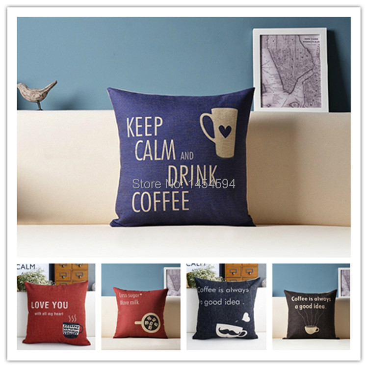 New fashion linen cotton coffee love you keep calm vintage cushion cover pillowcase home decor sofa car seat ikea free shipping(China (Mainland))