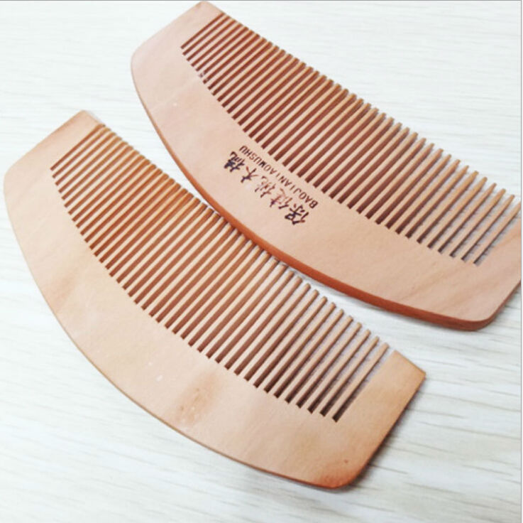 wooden bristle hair brush Retail 13cm Traditional Natural Cherry Wood Comb for hair combs wooden bristle hair brush(China (Mainland))