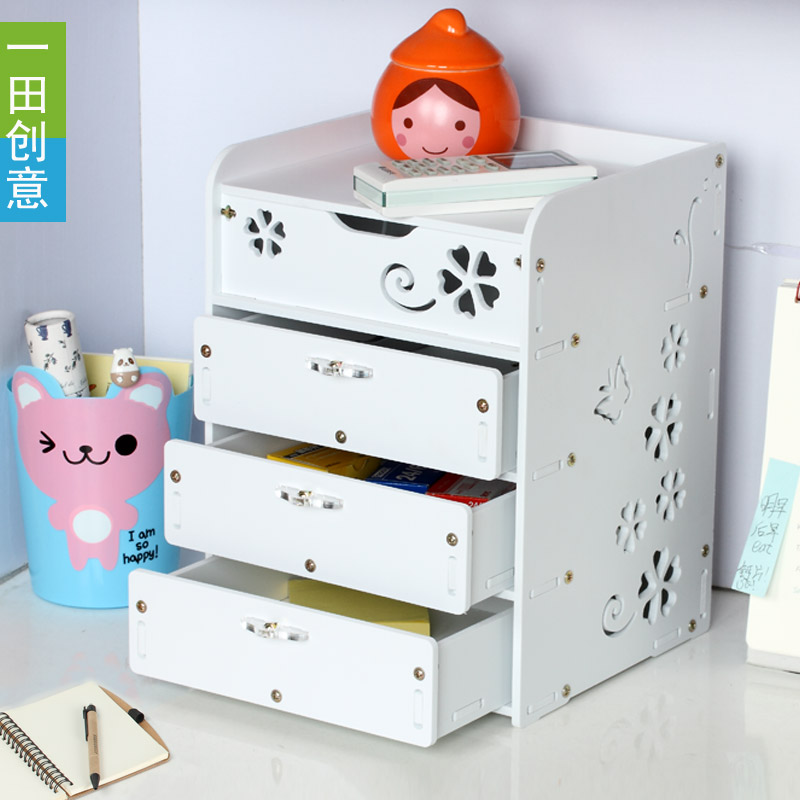 Creative waterproof desktop storage box Cabinet drawer type multilayer storage box Small cabinet drawers(China (Mainland))