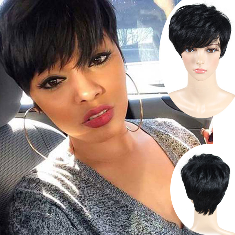 Short Pixie Cut Wigs Short Wigs For Black Women African American Short Wigs Black Hair Wig Perruque Synthetic Women Perruque(China (Mainland))