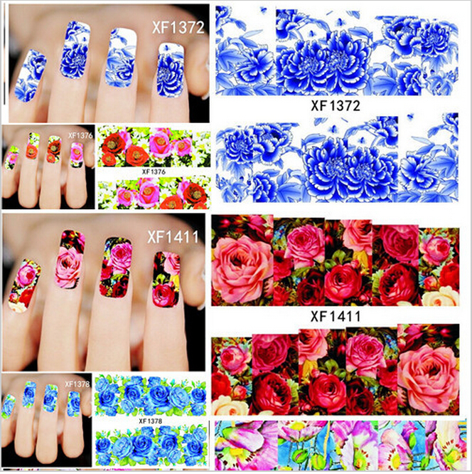 1 sheet DIY Full Wraps Flower Rose Water Transfer Stickers Nail Tip Decals DIY Decoration for Nail Accessories(China (Mainland))