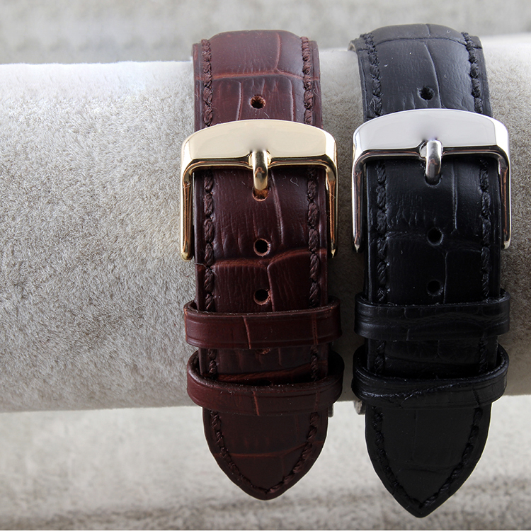 Leather crocodile MENS LADIES black brown leather strap buckle 121416 18mm Watch accessories<br><br>Aliexpress