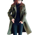 Plus Size Women Winter Overcoats 2016 Solid Imitation Woolen Stand Collar Single Breasted Long Outerwear Trench