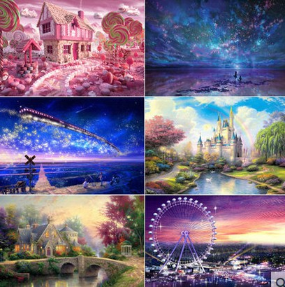 DIY toy novelty 3D puzzles wooden jigsaw puzzles 1000 for adult teenager toy famous painting scenery castle Star sky ocean(China (Mainland))