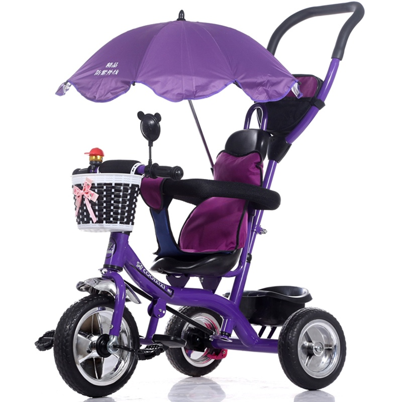 Luxury Infant Baby Stroller Tricycle Bicycle Children Steel Frame Pneumatic Wheel with Awnings Umbrella Kids Learning Bike Prams(China (Mainland))