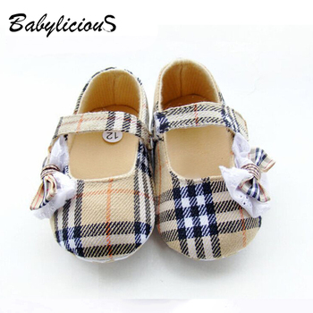Free shipping 6Pairs/Lot Baby Bow Toddler Grid Baby Tartan Shoes Factory Sales Directly Baby Foot Wear