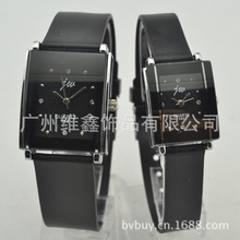 Hot Sale Popular Rhinestone Watches Black&White Silicone Wrist Quartz Analog Lovers Couple Watch With Crystal Square Dial