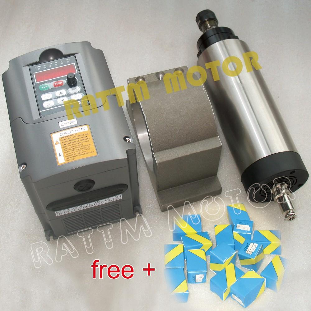 Cnc 2 2kw air cooled spindle motor vfd inverter clamp for Vfd for 3hp motor