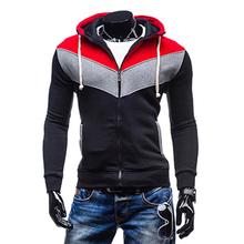 Autumn/Winter Men's Colorful Patch Zipper Hoodies Sweatshirt,Fleece Sport Zip Up Hooded Jacket,Quality Men's Zip up Coat