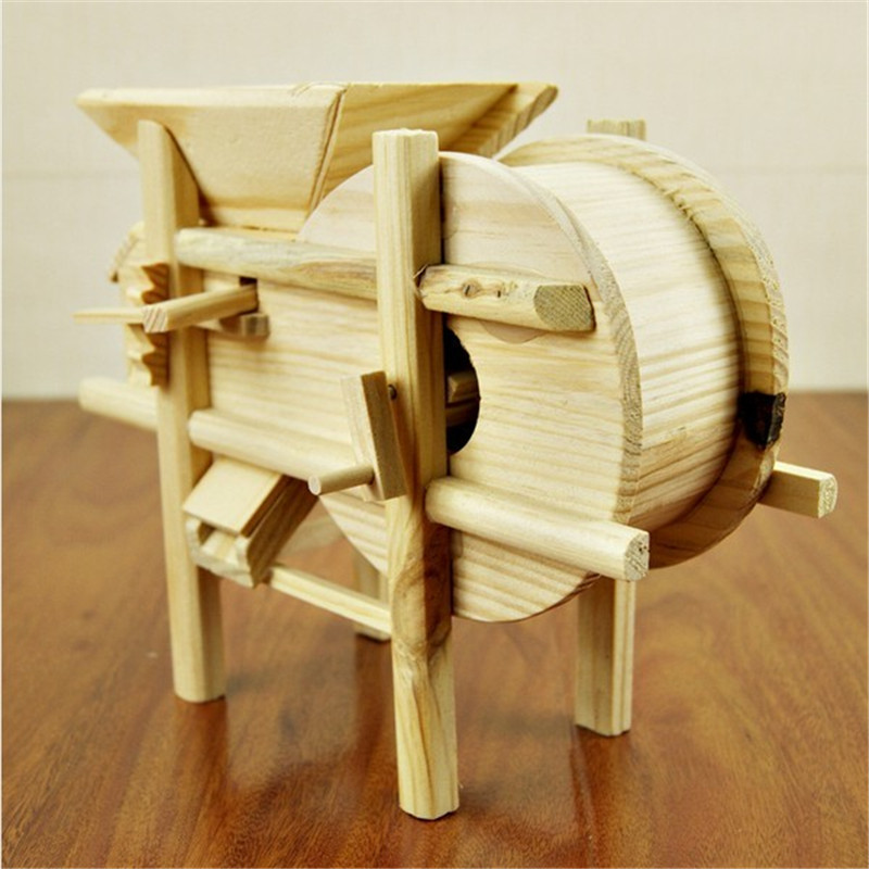 Wood Handmade Wood Carving Big Windmill Furniture Model Home Desk Accessories Small Furniture