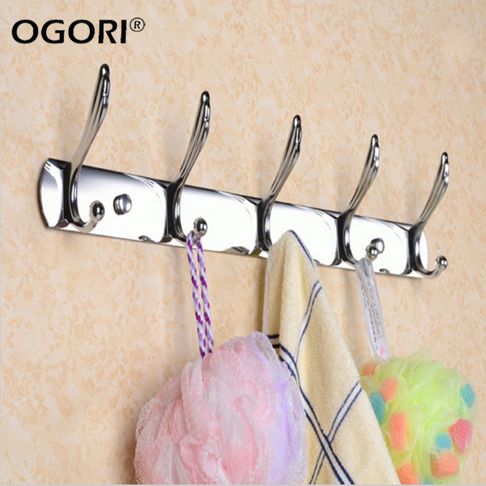 5/6 Hooks Stainless Steel Wall Door Mounted Hanger Coat Hat Cloth Towel Rack Hooks Bathroom Kitchen Clothes Bag Rack Holder(China (Mainland))