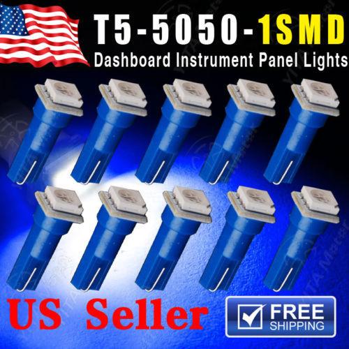 Free Shipping Car LED 10PCS Ultra Blue T5 5050 1SMD Wedge Car LED Light Bulbs 2721 74 73 70 17 18 Interior Instrument Lights -A(China (Mainland))
