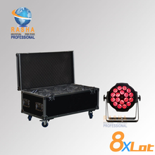 8X LOT Hex 18pcs*18W 6in1 RGBAW UV LED Par Light,Aluminum( LED Par Can With DMX IN&OUT,Power IN&OUT,8in1 Flight Case(China (Mainland))
